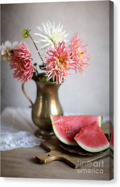 Melons Canvas Print - Dahlia And Melon by Nailia Schwarz
