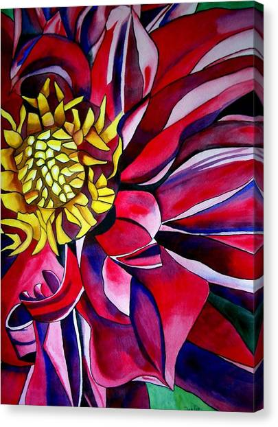 Dahlia In Macro Style Canvas Print by Sacha Grossel