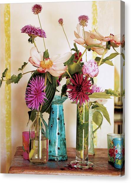 Vase Of Flowers Canvas Print - Dahlias And Peonies In Majolica Vases by James Merrell
