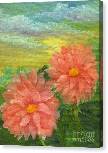 Dahlias At Sunrise  Canvas Print by Maria Williams