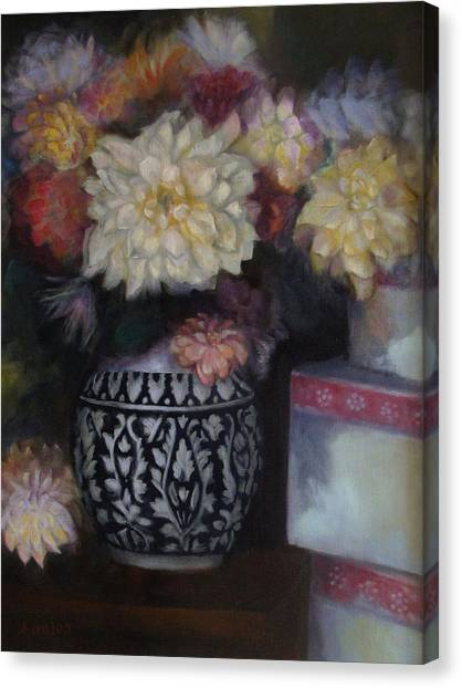 Dahlias Canvas Print by Susan Hanlon