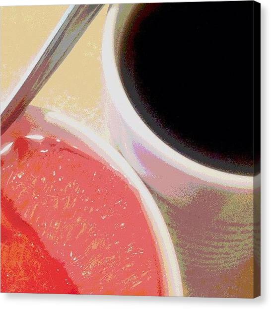 Grapefruits Canvas Print - Daily Dose Of Get-up-and-go ~ Black by Linda Christiansen