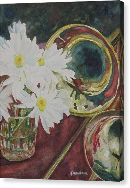 Trombones Canvas Print - Daisies Bold As Brass by Jenny Armitage