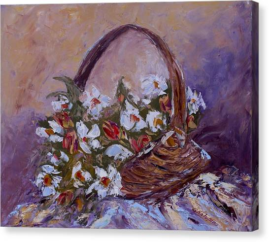 Daisies In The Old Basket Canvas Print