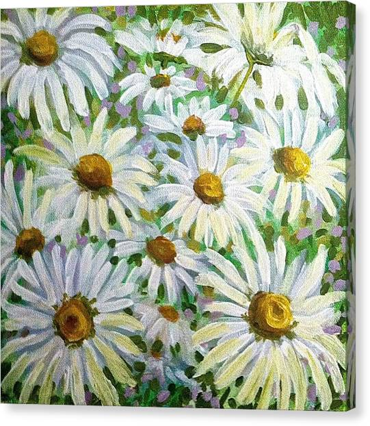 Canvas Print featuring the painting Daisies by Jeanette Jarmon