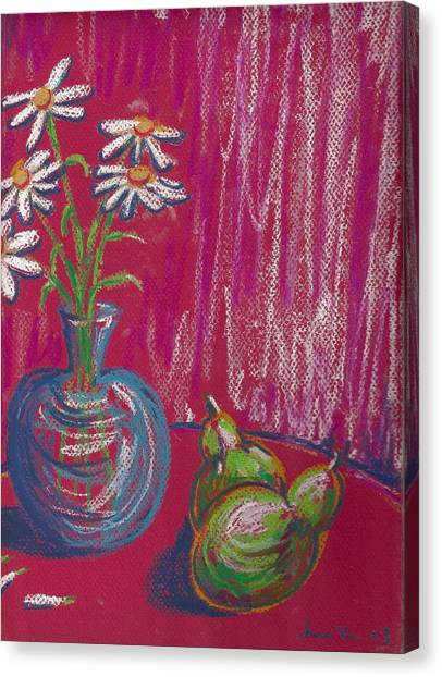 Daisies On Red Table Canvas Print