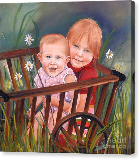 Daisy - Portrait - Girls In Wagon Canvas Print