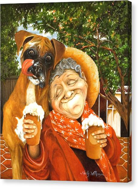 Boxer Dog Canvas Print - Daisy's Mocha Latte by Shelly Wilkerson
