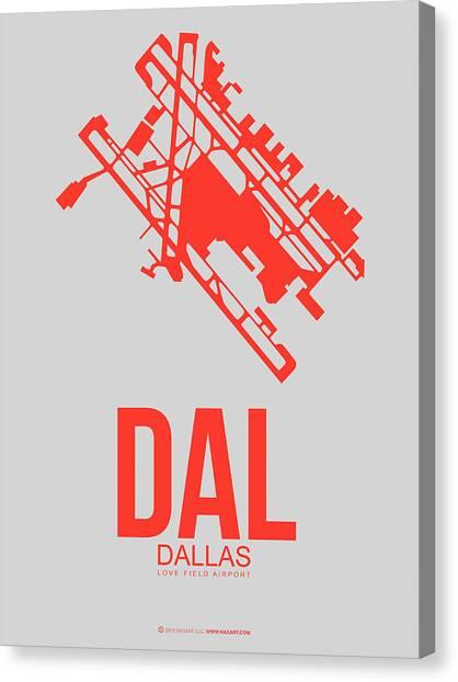 Dallas Canvas Print - Dal Dallas Airport Poster 1 by Naxart Studio