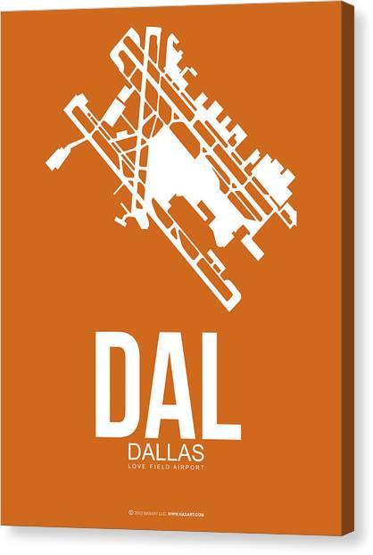 Dallas Canvas Print - Dal Dallas Airport Poster 2 by Naxart Studio