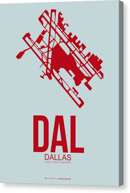 Dallas Canvas Print - Dal Dallas Airport Poster 3 by Naxart Studio