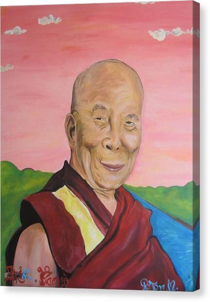 Dalai Lama Portrait Canvas Print by Erik Franco