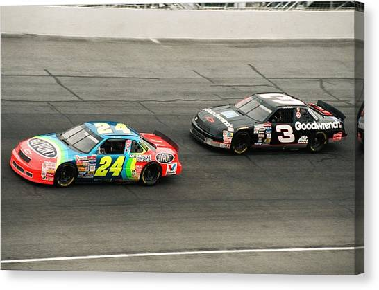 Jeff Gordon Canvas Print - Jeff Gordon And Dale Earnhardt by Retro Images Archive