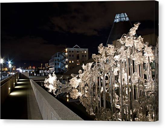 Dale Chihuley Exhibit Outdoors @ Night - Museum Of Glass Tacoma Wa Canvas Print