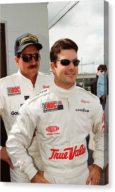 Jeff Gordon Canvas Print - Dale Earnhardt Playing Jokes On Jeff Gordon by Retro Images Archive