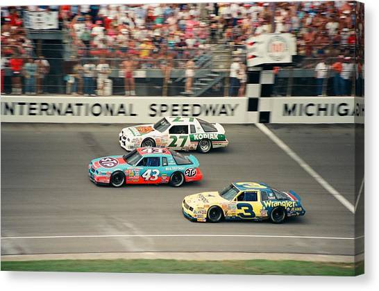 Nascar Canvas Print - Dale Earnhardt Richard Petty And Rusty Wallace Race At Michigan by Retro Images Archive