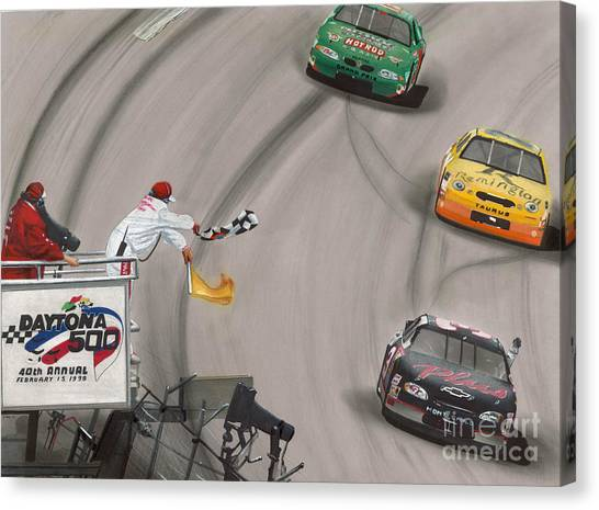 Daytona 500 Canvas Print - Dale Earnhardt Wins Daytona 500-checkered Flag by Paul Kuras