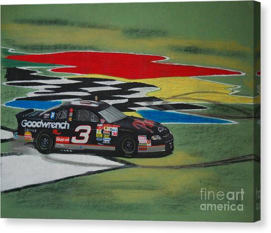 Daytona 500 Canvas Print - Dale Earnhardt Wins Daytona 500-infield Doughnuts by Paul Kuras