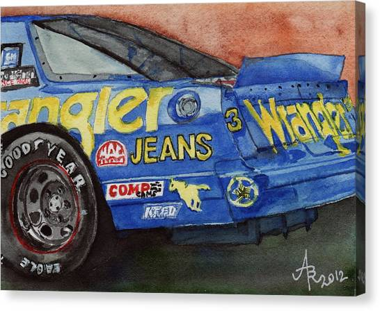 Dale Earnhardt's 1987 Chevrolet Monte Carlo Aerocoupe No. 3 Wrangler  Canvas Print