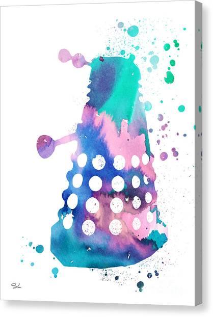 Tardis Canvas Print - Dalek by Watercolor Girl