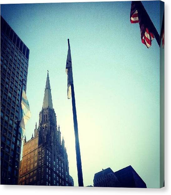 Flags Canvas Print - Daley Plaza by Jill Tuinier