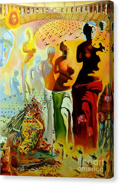 Red Eye Canvas Print - Dali Oil Painting Reproduction - The Hallucinogenic Toreador by Mona Edulesco