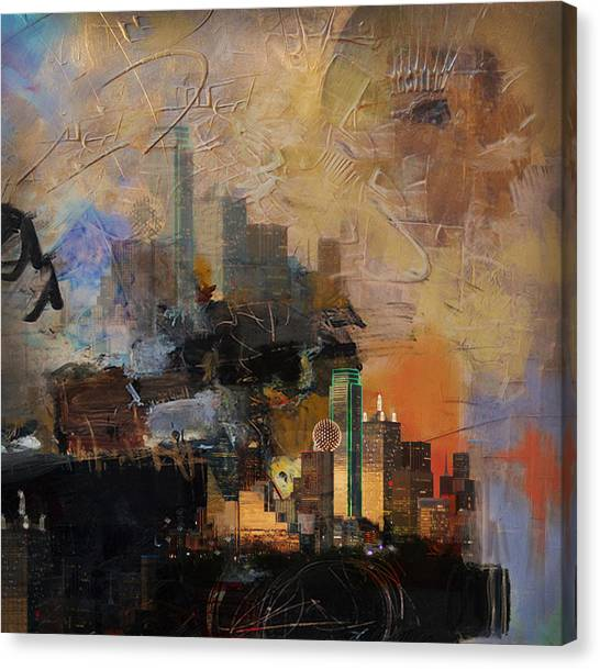 University Of Chicago Canvas Print - Dallas Abstract 002 by Corporate Art Task Force