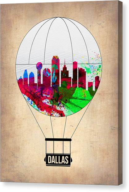 Dallas Skyline Canvas Print - Dallas Air Balloon by Naxart Studio