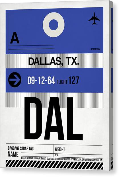 Dallas Canvas Print - Dallas Airport Poster 1 by Naxart Studio