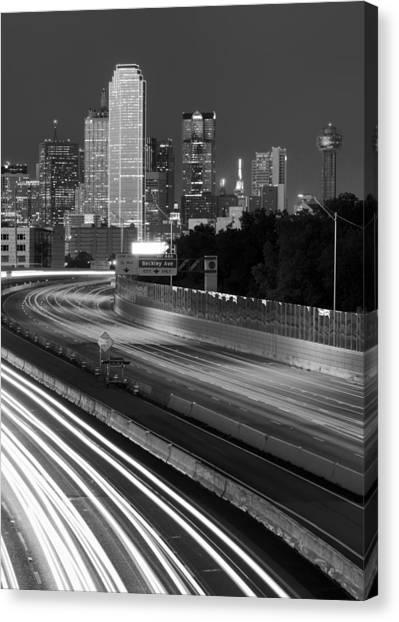 Dallas Arrival Bw Canvas Print