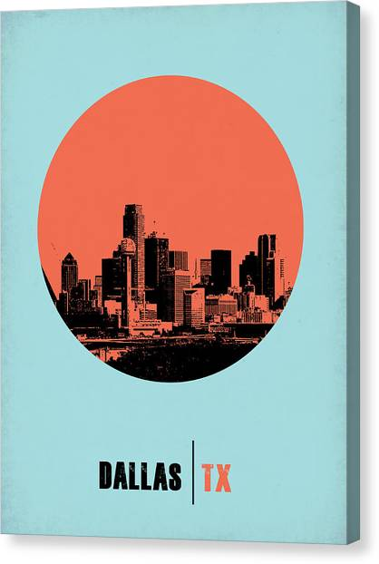 Dallas Canvas Print - Dallas Circle Poster 1 by Naxart Studio