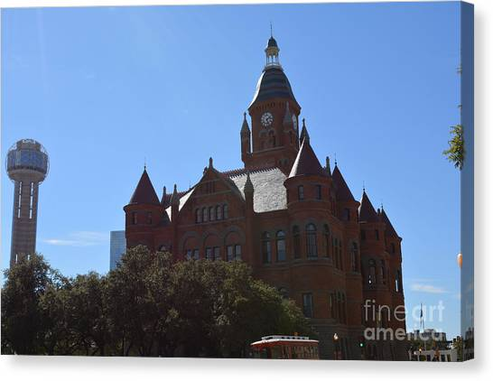 Dallas County Courthouse And Reunion Tower Canvas Print by Ruth  Housley