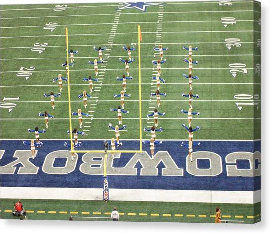 Dallas Cowboys Cheerleaders Canvas Print - Dallas Cowboys Cheerleaders by Donna Wilson