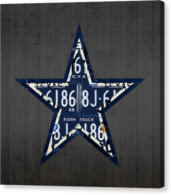 Dallas Cowboys Canvas Print - Dallas Cowboys Football Team Retro Logo Texas License Plate Art by Design Turnpike