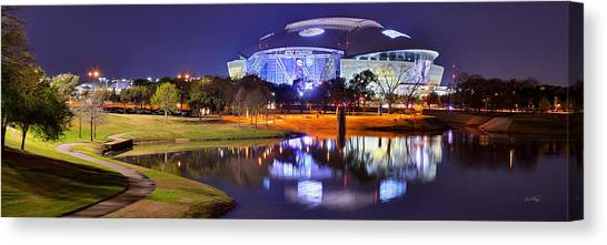 Dallas Skyline Canvas Print - Dallas Cowboys Stadium At Night Att Arlington Texas Panoramic Photo by Jon Holiday