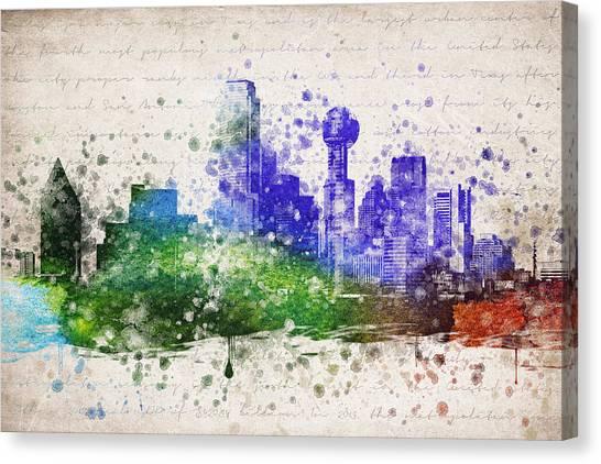 Dallas Skyline Canvas Print - Dallas In Color by Aged Pixel