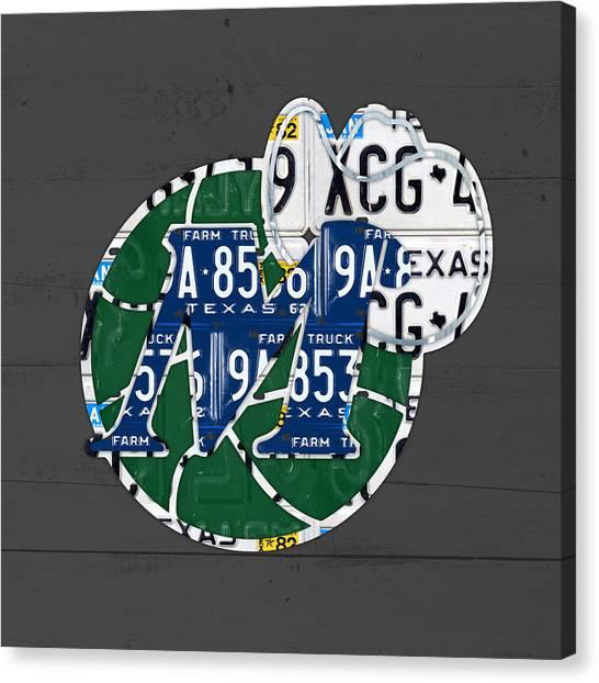 Dallas Mavericks Canvas Print - Dallas Mavericks Basketball Team Retro Logo Vintage Recycled Texas License Plate Art by Design Turnpike