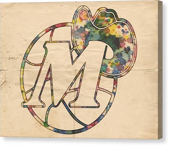 Dallas Mavericks Canvas Print - Dallas Mavericks Retro Poster by Florian Rodarte