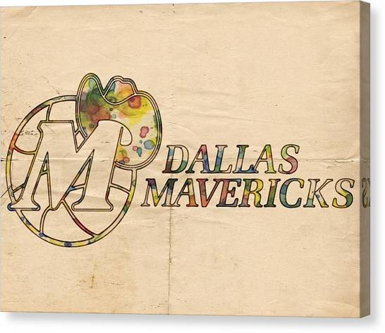 Dallas Mavericks Canvas Print - Dallas Mavericks Vintage Poster by Florian Rodarte