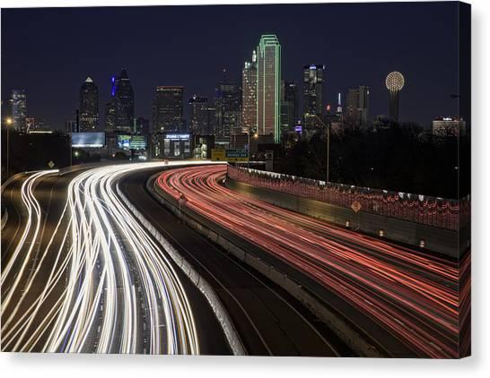 Interstates Canvas Print - Dallas Night by Rick Berk