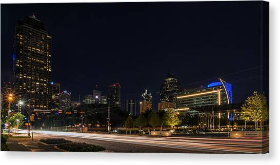Dallas Night Skyline From Klyde Warren Park Canvas Print