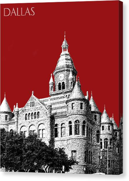 Dallas Skyline Canvas Print - Dallas Skyline Old Red Courthouse - Dark Red by DB Artist