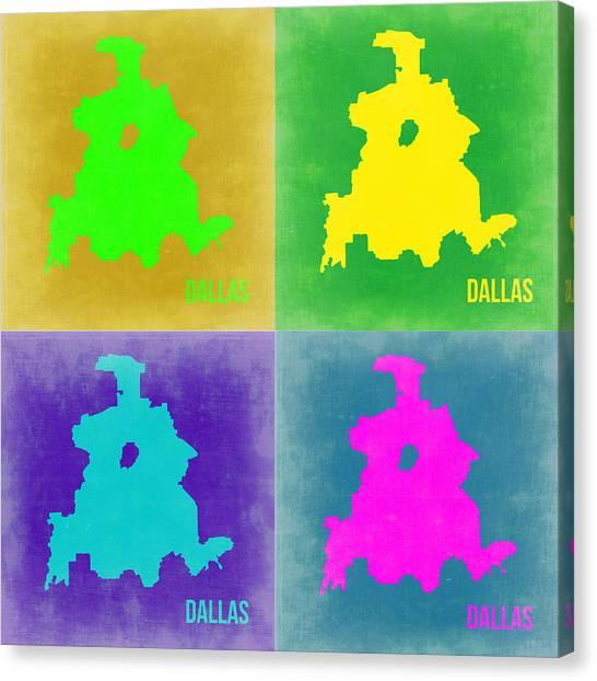 Dallas Canvas Print - Dallas Pop Art Map 2 by Naxart Studio