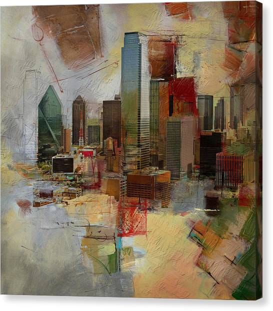 University Of Chicago Canvas Print - Dallas Skyline 003 by Corporate Art Task Force