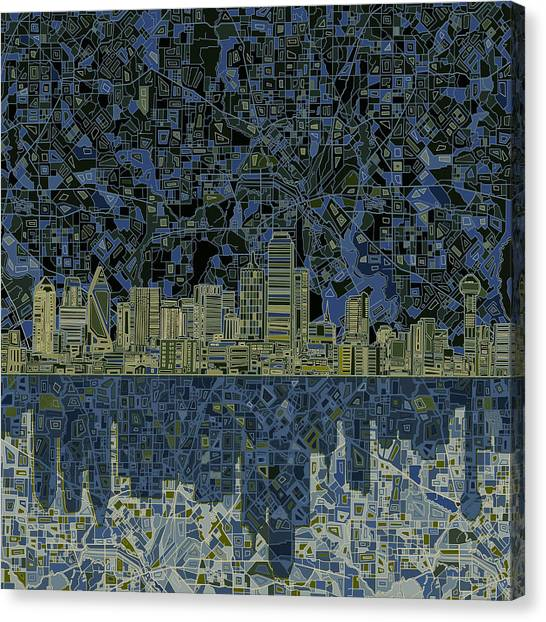 Dallas Skyline Canvas Print - Dallas Skyline Abstract 2 by Bekim Art
