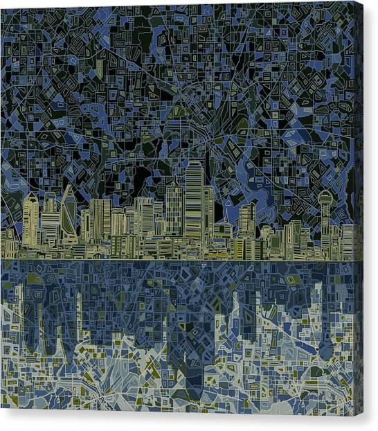 Dallas Skyline Abstract 2 Canvas Print