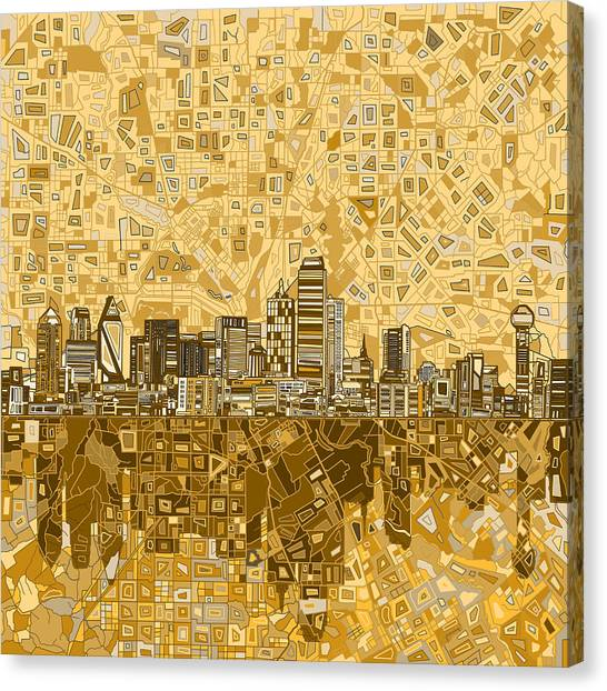 Dallas Skyline Canvas Print - Dallas Skyline Abstract 6 by Bekim Art