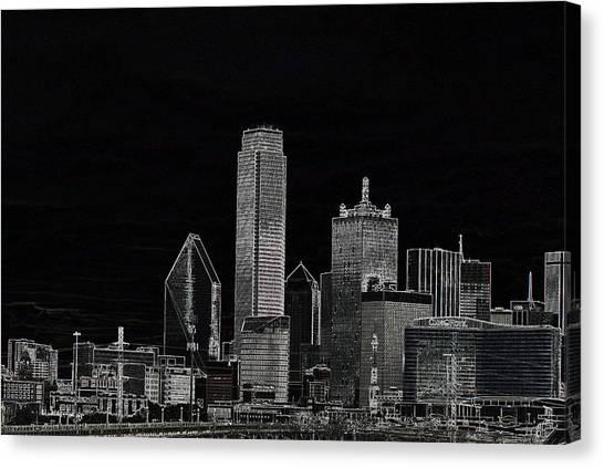 Dallas Skyline In Black - Center Canvas Print