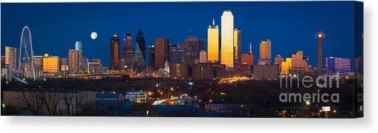 Dallas Stars Canvas Print - Dallas Skyline Panorama by Inge Johnsson