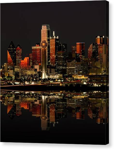 Texas Rangers Canvas Print - Dallas Texas Night by Daniel Hagerman